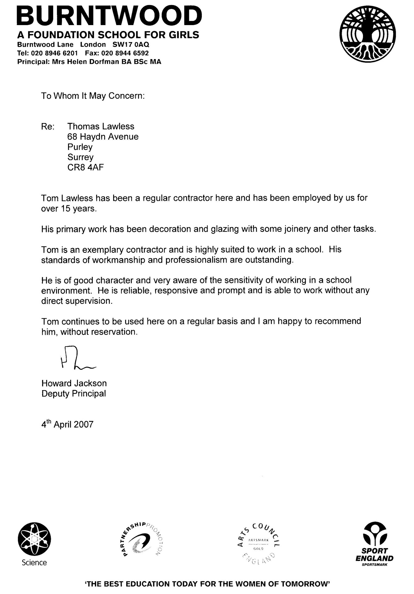 testimonials thomas lawless painters decorators glaziers testamonial 4
